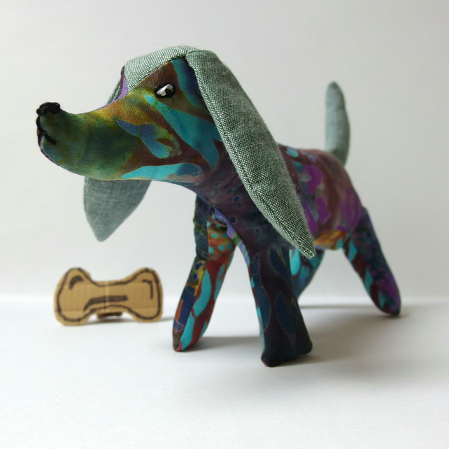 Fabric Dog ornament - Doughty's batik pattern fabric - blue & purple