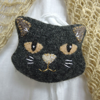 Dark Grey Cat Brooch - upcycled textile