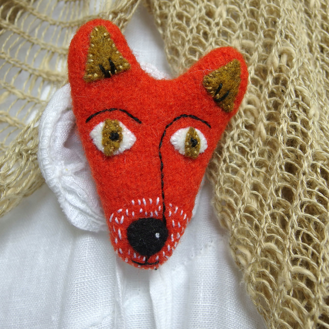 Fox Brooch - orange wool with hand sewn detail