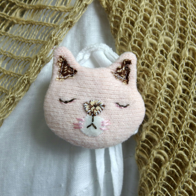 Pink Cat Brooch - upcycled textile