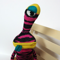 Arthur Sock Monster Alien - pink & black zebra stripes
