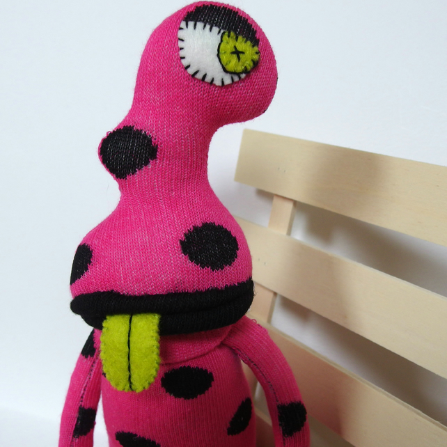 Measle Sock Monster Alien - Pink & Black spots