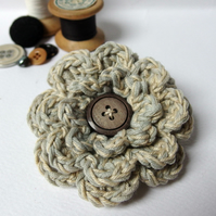 Cotton Crochet Flower Brooch - oatmeal