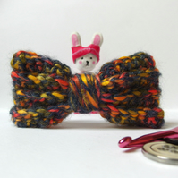 Crochet Bow Hair Barrette Clip - chunky yarn