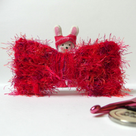 Crochet Red Bow Hair Barrette Clip - chunky yarn