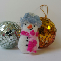 Snowman Brooch Textile - christmas winter gift - blue hat, pink scarf