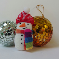 Snowman Brooch Textile - christmas gift - red hat, stripey scarf