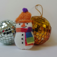 Snowman Brooch Textile - christmas gift - orange hat, striped scarf