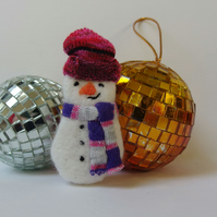 Snowman Brooch Textile - christmas gift - pink hat, purple grey scarf