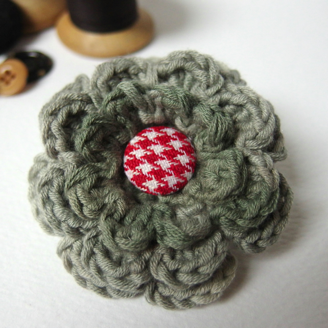 Cotton Crochet Flower Brooch with button centre