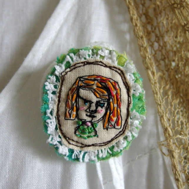 Serious Girl Brooch - Freemotion Embroidered Textile