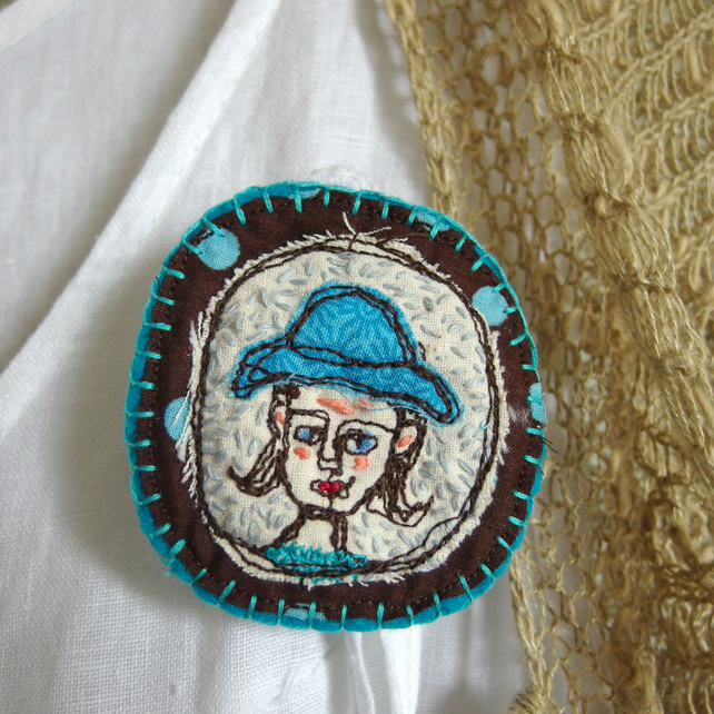 Lady in a Turquoise Hat Brooch - Freemotion Embroidered Textile