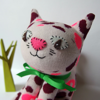 Sock Cat - leopard pattern pinks