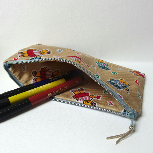 Zip Pencil Case for kids - bears and numbers fabric