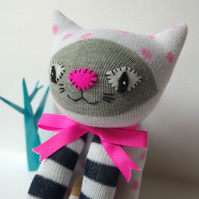 Sock Cat - white with navy stripes and pink spots