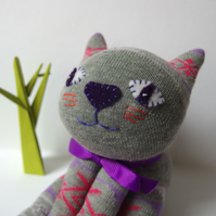 Sock Cat - grey with lilac and coral pattern