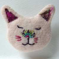 Pink Cat Brooch - upcycled textiles