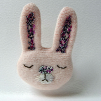 Pink Bunny Rabbit Brooch - upcycled textile