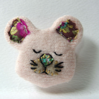Pink Mouse Brooch - upcyled textile