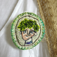 Lad with Green Hair - Brooch, Freemotion Machine & Hand Stitched Textile