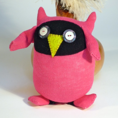 Sock Owl - Bright Pink & Black
