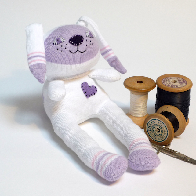 Sock Bunny Rabbit, Lilac - White & Lilac with felt heart