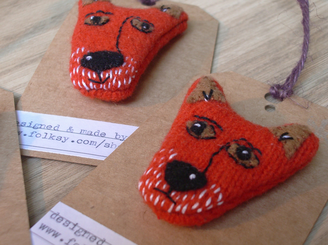 Orange Fox Brooch - lambswool