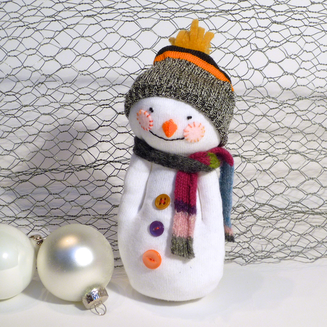sock hat for snowman sock snowman white with hat scarf folksy