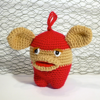 Amigurumi Crochet Gremlin - Red & Tan