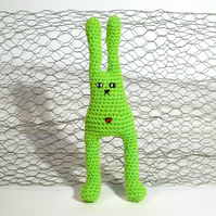 Amigurumi Crochet Grumpy Bunny - Lime Green with bellybutton
