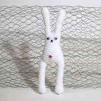 Amigurumi Crochet Grumpy Bunny - White with bellybutton