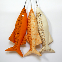 3 Moda Fabric Decorative Fish - sunshine yellow trio