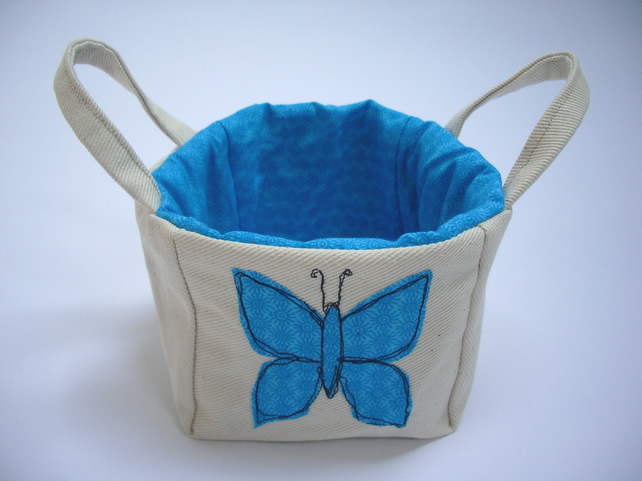 Fabric Basket - with applique freemotion butterfly