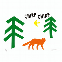Fox in a Forest Screen Print - Hand Printed, Limited Run (18)