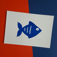 Blue Fish Screen Print - Hand Drawn and Printed Design, Limited Run (10)