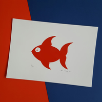 Red Fish Screen Print - Hand Drawn and Printed Design, Limited Run (10)