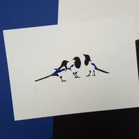 """Three for a Girl"" Magpie Screen Print - Hand Printed, Limited Run (18)"