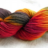 'Log Fire' - Superwash BFL/Nylon High Twist Sock Yarn 100g