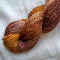 'Caramello' Hand Dyed BFL Lace Yarn 100g