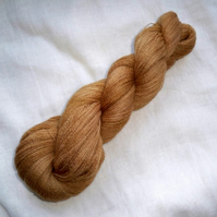 SALE 'Golden Brown' Hand Dyed BFL Lace Yarn 100g