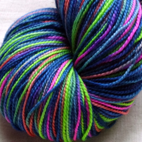 Reserved for Carley - 'Neon Nights' Gold Sparkle Sock 100g