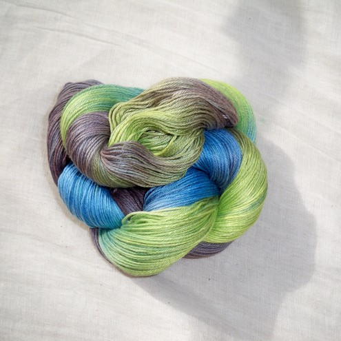 'River Valley' - Organic Cotton/Tencel Hand Dyed Sock Yarn 100g