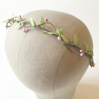 Leaf and Pink Pip Headband