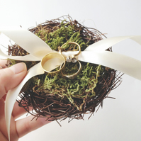 Bird Nest Ring Pillow - Cream Ribbon