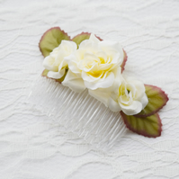 Ivory Rose Flower Comb