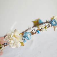 Ivory and Blue Flower Crown - Oceana