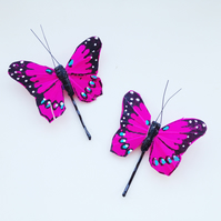 Pink Butterfly Hair Pins
