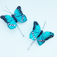 Blue Butterfly Hair Pins