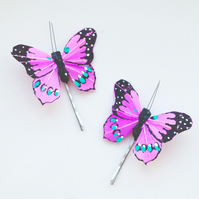 Purple Butterfly Hair Pins