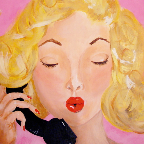 Retro Phone Pin up Art Print / Reproduction 8 X 11